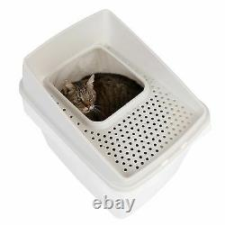 Big Box Cat Large Plastic Litter Tray Toilet Top Entry Easy Clean White
