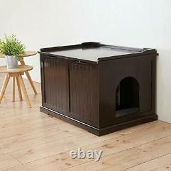 Brown Wooden Extra-Large Cat House and Litter Box MDF Espresso Finish