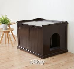 Brown Wooden Extra-large Cat House Litter Box Espresso Varnish Indoor Pet House
