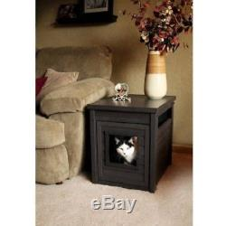Cat Litter Box Cover End Table Hidden Kitty Enclosure Pet House Cabinet Espresso