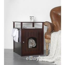 Cat Litter Box Furniture Kitty Pet End Table Nightstand Small Dog House Hidden