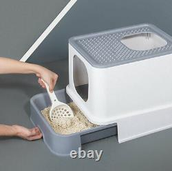 Cat Litter Box Pet Kitten Toilet Tray Large Hooded Enclosure Filter Covered Grey