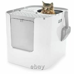 Cat Litter Box XL With Front & Top Entry Reusable Litter Insert Keep Clean White