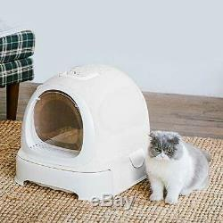 Cat Litter Box with Lid, Hooded Kittie Cat Litter Toilet, Trendy Covered White