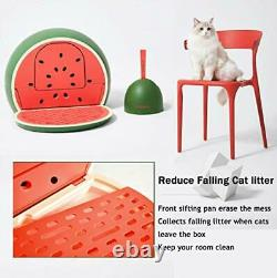 Cat Litter Box with Lid Scoop Sifting Pan, Covered Designer Cat Litter Box Set
