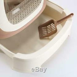 Cat Litter Boxes Enclosed Pan Drawer Drag with Cat Litter Scoop Isolated Odor Pink