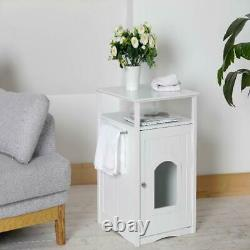 Cat Pet House Litter Box Washroom Cover Night Stand Pet House Cabinet White New