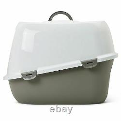 Cat Toilet Covered Litter Box Plastic Large Tray With Carbon Filter White & Grey