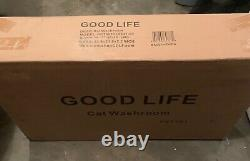 Cat Washroom Hidden Litter Box Enclosure. Good Life Cat House with Table White
