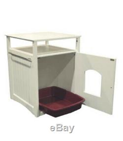 Cat Washroom Litter Box Cover White Night Stand Pet House Kitty Attractive Cover