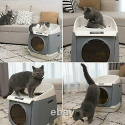Cat litter tray Cat Litter Box XXL Double-Door Cat House Front Entry and top