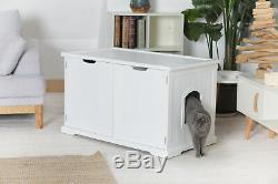 Cat's Litter Box X- Large Cover Bench Wooden Furniture White Enclosure Cat Wood