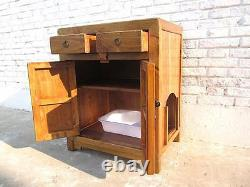 Cats Litterbox IN Natural Wood Dresser Country House Style Metal Fog Inlet Right
