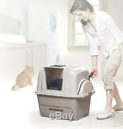 Covered Cat Litter Box Automatic Scoop Lid Kitty Clumping Pan Kitty Pet Toilet