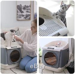 DADYPET Cat Litter Box XXL, Double-Door Cat House, Front Entry and Top Litter & 55
