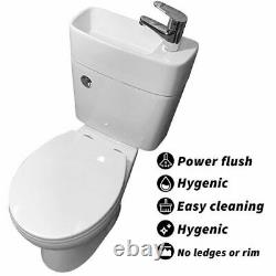 Duo Toilet Basin Combo Combined Toilet with Sink Tap Pipe Cloakroom Space Saving