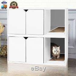 Eco Modern Double Cat Litter Box Furniture, White LIFETIME GUARANTEE