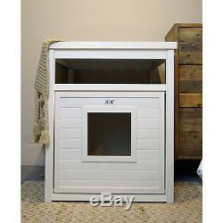EcoFLEX Jumbo Covered Cat Litter Box Cover End Table Antique White Pet Furniture