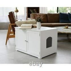 Enclosed Large Kitty Litter Box Furniture End Table in Black or White Finish