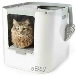 Extra Large Top Entry Cat Litter Box With Lid Front Scoop Tray Enclosed Covered