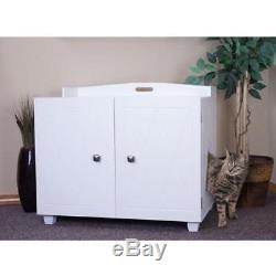 FurHaven White Bench Hidden Kitty Litter Box Enclosure