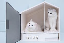 Furrytail Glow House Cat Litter Box With Scoop, Low Entry Modern Cat Litter Box