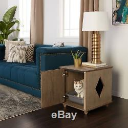 Hidden Kitty Litter Box & Side Table Cat Privacy Concealing Weathered Furniture