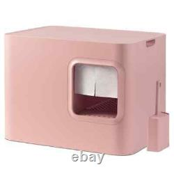 Hoopo Cat Litter Box Pink Pet Kitten Container Supply Hood Tray Easy Cleaning
