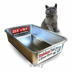IPrimio Ultimate Stainless Steel Cat XL Litter Box Never Absorbs Odor, Stai