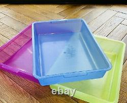 Job Lot 205 Cat Litter Tray 36 by 25cm Pink Blue or Yellow Sparkle New