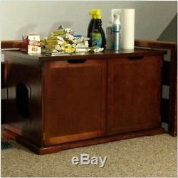 Kitty Cat Litter Box Wood Modern Brown Pet Furniture End Table Discrete XL Condo