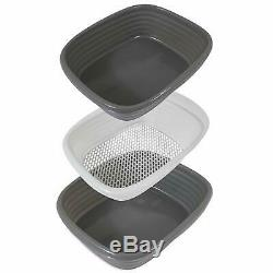 Large Cat Litter Pan Self Sifting Box Clean Slotted Tray No Shake 3 Part System