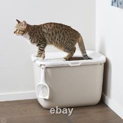 Large Litter Cat Kittens Hop In Box Leak Proof Pet Toilet Top Entry Removable