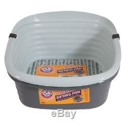 Large Self Sifting Cat Litter Pan Box 3 Part System Clean Slotted Tray Interlock