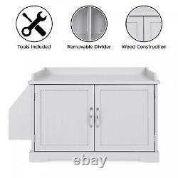 Large Wooden Cat Litter Box Enclosure Cabinet & Side Table With Magazine Rack