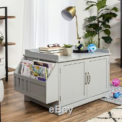 Large Wooden Cat Litter Box Enclosure Cabinet and amp Side Table with Magazine