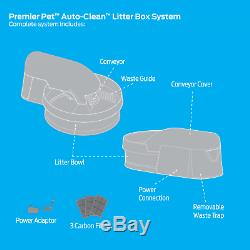Litter Box System Auto Clean Clumping Cat Whisper Quiet Removable Waste Bin