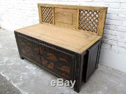 Litter Tray Bench China Classic Golden Landscape on Black Patent Luxu