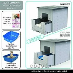 Lucy Large Cat Litter Box with Drawer, Big Kitty Litter Tray with Lid