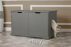 Merry PTH1031722510 Pet Cat Washroom Bench with Removable Partition Wall, Gray