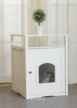 Merry Pet Cat Washroom Litter Box Cover/Night Stand Pet House Glossy White
