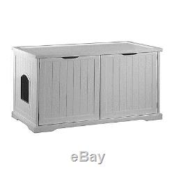 Merry Products Cat Washroom Bench in White Designed for Cat Litter Box, MPS010