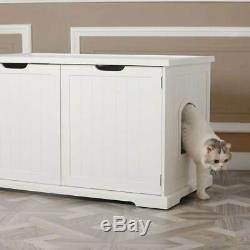 Merry Products Decorative Bench with Enclosed Cat Litter Washroom Box, White