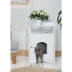 Merry Products Decorative Cat Enclosed Litter Box Washroom Night Stand, White