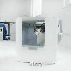 Modern Extra Large XL Cat Litter Box Two Way Entry Configuration Top Front Door