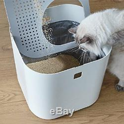 Modkat Litter Box, Top-Entry, Looks Great, Reduces Litter Tracking White