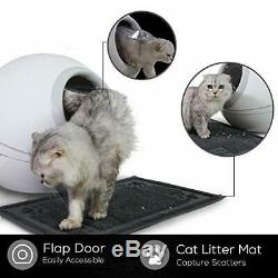 NOVA Cat Litter Box, Fully Enclosed Rounded Litter Box with Roll-Top Lid, Gray