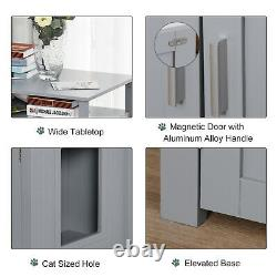 PawHut Inside Tabletop Side Table Cat Box Fixture with Magnetic Closing Door, Grey