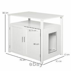 PawHut Inside Tabletop Side Table Cat Box Fixture with Magnetic Closing Door, Whit