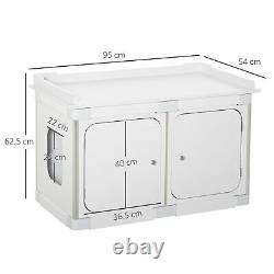 PawHut Wooden Cat Litter Box Enclosure Washroom Toilet Home Cabinet Kitty House